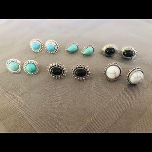 6 pair stud stone earrings NWT